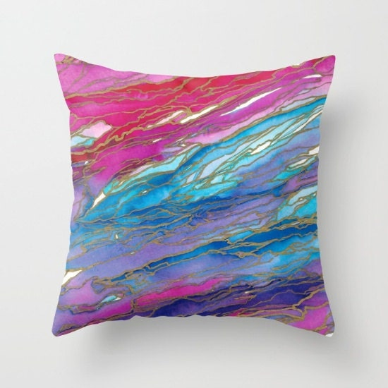 Agate Magic Pink Purple Blue Gold Marble Rainbow Waves Throw