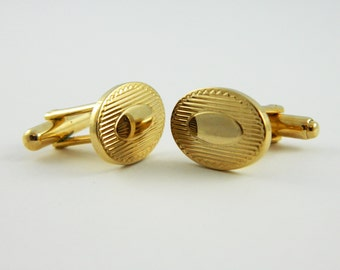 Golden Oval Cuff Links - CL022