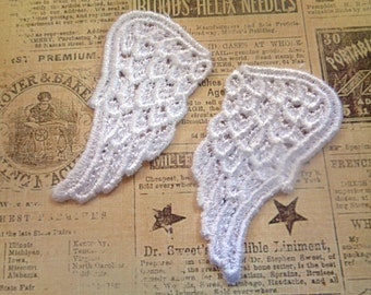 Angel Wings Venice Lace Applique, White, x 2, For Bridal, Romantic, Victorian, Gothic Projects