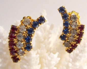 Red, White and Blue Rhinestone Clip Earrings