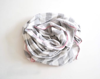 Gray / white stripe blanket. You choose your trim color! LARGE size 45 by 45 in. Soft stretchy knit fabric. Handmade by Amy, lippybrand.