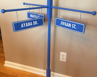 Triple Name/Double Sided Sesame Street Inspired Street Sign - birthday/room decor - photo prop