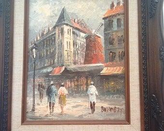 Vintage Paris Oil Painting original signed Caroline Burnett, Paris street scene framed, Moulin Rouge wall decor, French impressionism