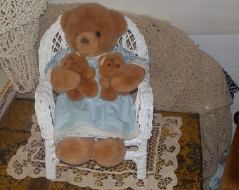 Mama Bear Twins Russ Mother's Love Two Babies, Mama Bear with Twins, Vintage Stuffed Teddy Bear, Teddy bear, Vintage Stuffed toy, Plush :)s*