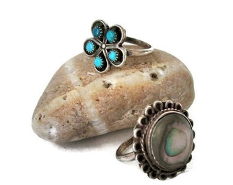 ON SALE Alpaca Silver Ring Collection, 2 Mexican Rings, Southwest, Boho, Abalone and Faux Turquoise Sz 5.5 and Sz 6.25