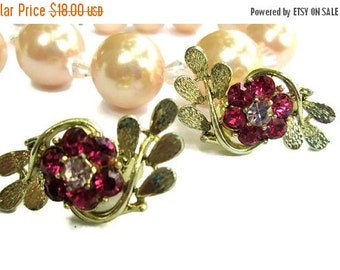 ON SALE Signed Coro Pink Rhinestone Flower Leaf Earrings, Vintage Gold Tone Clip Ons, Mid Century Jewelry