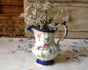 Antique Floral Porcelain Creamer Serving Pitcher Jug Creamer Blue White Hallmarked