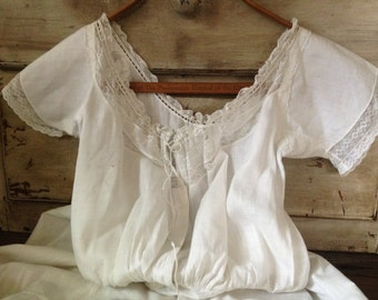 White Cotton Lace Petticoat Antique Victorian Period Costume