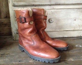 80s Cognac Brown Leather Boots Dr Martens Fleece Lined Made in UK Winter Walking Climbing Size 10 UK 10.5 US