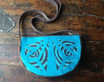 Handcrafted in France ~ Blue & Brown Fabric Small Crossbody Style Handbag Satchel