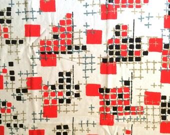 60s Mid Century Modern Vintage Fabric White Black and Red Graphic Design Print Home Decor Textured Cotton Cute Bright Fun CBF