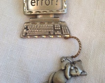JJ Computer Brooch Dangling Cat on Mouse