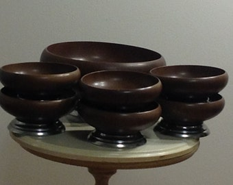 Vintage Wooden Salad Bowl with Serving Dishes