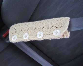 Crochet Car Seat Belt Cozy - oatmeal (CSBC1J)