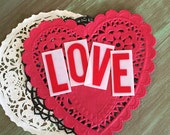 LOVE Sign Letters Vintage Store Tags Red White Plastic Sign Letters for MIxed Media, Altered Arts, Crafts