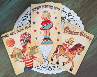Circus Cards / 3 Circus cards Step Right Up! Circus Galop and Come one, Come All! Great for Mixed Media, Collage, Altered Art, Journal, etc