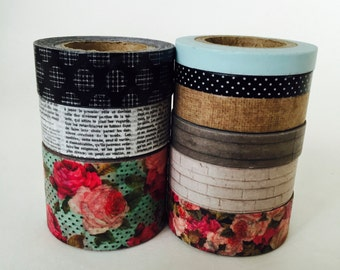 WASHI Tape Assorted Rolls  / 9 Rolls Tape Vintage Colors Shabby Chic Tape Rolls