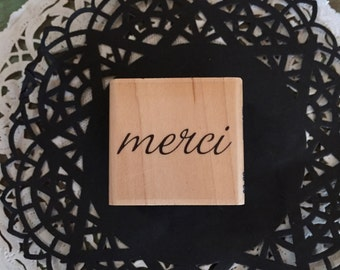 Merci Rubber stamp for Tags, Notes, Cards, Crafts, etc.
