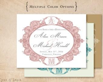 Antique Oval Frame - Wedding Save the Date - DIY 4x5 Printable Postcard - Ornate Victorian - Pink Blush Gray, Aqua Ivory, Gold White