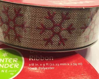 9 feet of glitter Snowflake on Burlap ribbon, 7/8 inch wide (HR7)