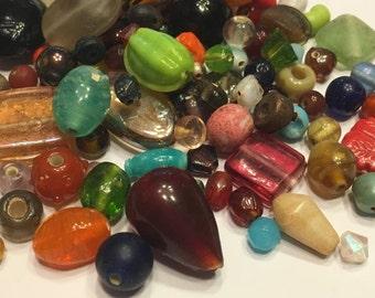50 piece assorted glass bead mix, 3 - 15 mm (K22)