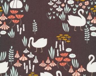 1/2 Yard Organic Cotton Fabric - Cloud 9 Fabrics, Park Life, Royal Swan Brown