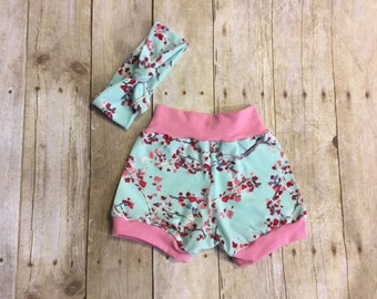 6 - 9 months Pink and Blossom Baby Girl Cuff Shorts and Knot Headband - ready to ship