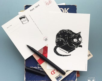 Ex Libris Black Cat Postcard