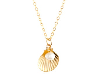 Shell & Pearl Charm Necklace