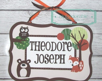 Custom Foxy and Friends Artisan hand painted name sign name plate plaque ~  fox, owl, bear raccoon Woodland animal theme