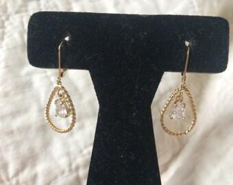 Vintage Silvertone and Gemstone Dangle Teardrop Earrings, 3/4'' Long