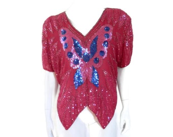 80's Sequin and Beaded Pink Rayon Blouse by Sarafina of India