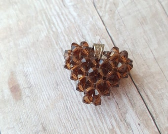 Clearance small brown heart pendant. Inventory reduction sale.