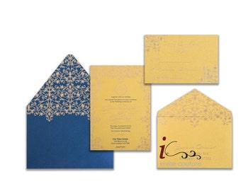 Custom Luxury Gold and Ivory Invitations -  CUSTOM INVITATIONS with Designed Envelope   -  Metallic Printing Double Sided Invitations