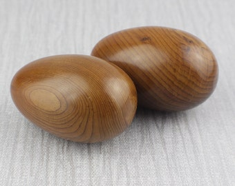 Two Wooden Egg Shaped Ornaments Turned Blackwood