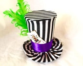 Tiny Top Hat: The Joker - purple green stripes harley quinn joker steampunk gothic goth burlesque kawaii cosplay