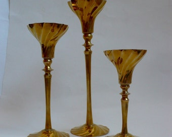Vintage Brass Graduated Candle Holder Swirl Base Candlestick Holders Taper Candle Holder