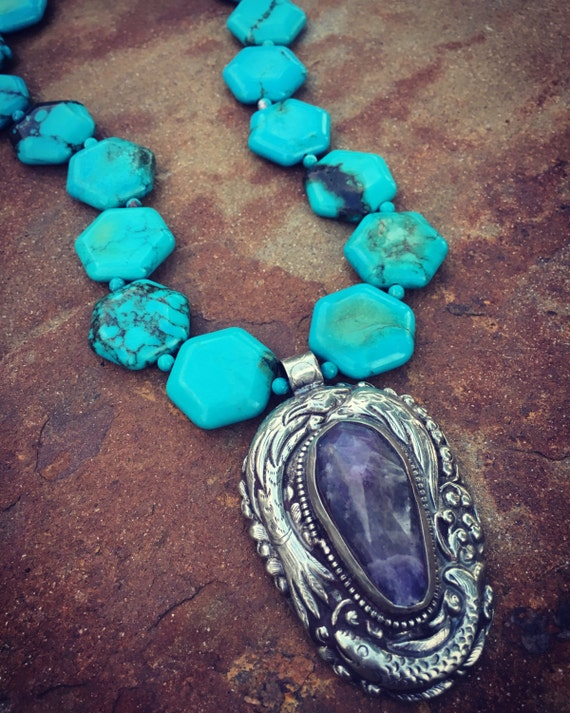 Turquoise and Amethyst Boho Statement Necklace
