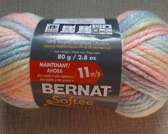 DESTASH - One Skein of Bernat Softee Chunky 100% Acrylic Yarn Never Used Sleepytime Color Lot 29306 Variegated Super Bulky