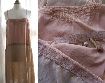 Vintage Lingerie 20's upcycled. Slip dress, nightgown, peach color, Silk and lace