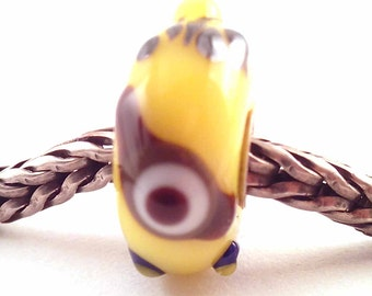 SRA artist handmade euro big hole - lampwork glass minion bead - lined with Sterling Silver - Made To Order - S846