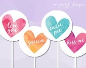 Watercolor Conversation Hearts Valentines Day Cupcake Toppers || Pink, Purple, Peach, Turquoise