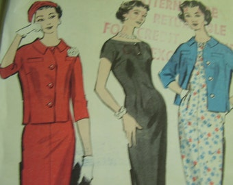 Vintage 1950's Advance 8680 Dress and Jacket Sewing Pattern, Size 14, Bust 34