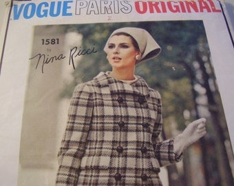 Vintage 1960's Vogue 1581 Paris Original Nina Ricci Suit and Blouse Sewing Pattern, Size 14, Bust 34