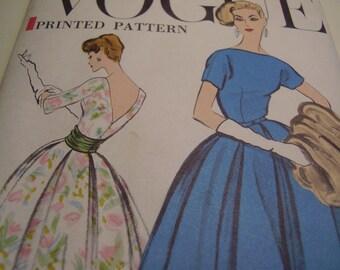 Vintage 1950's Vogue 9378 Dress and Cummerbund Sewing Pattern, Size 16, Bust 36