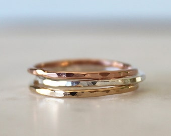 Dainty hammered tri color band set//Sterling Silver, yellow and pink gold filled//Handcrafted