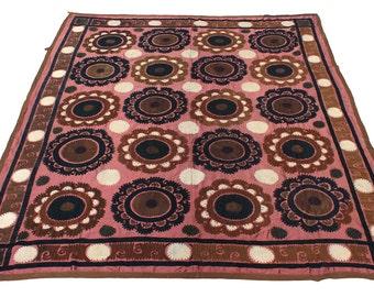 Suzani Vintage Suzani Old Embroidery Pastel Suzani Hanging Uzbek Suzani Ethnic Suzani 6.04' x 6.96' FAST SHIPMENT with ups or fedex - 08781