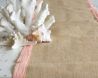 Burlap runner, coral lace, Beach Wedding, Table Runner, Burlap Runners,  Shabby Chic, Thanksgiving,