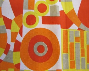 VTG 1970's Abstract Cotton Fabric Piece, Modern, Abstract, Geometric, Red, Orange, Yellow, Gray, White,  Decorator Weight, Cotton, 1980's