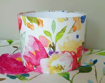 Drum lampshade light shade pendant table lamp in BLUEBELLGRAY Devon floral colourful pink yellow green fabric 20 cm 30 cm 40 cm